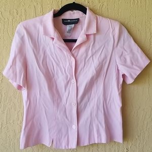Pink Sag Harbor buttondown short slv shirt Sz PS